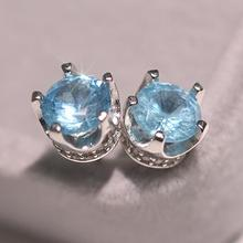 Lovely Crown Women Fashion Earring Stud 925 Silver Colorful AAA Zircon Inlaid For Party Best gift Wholesale