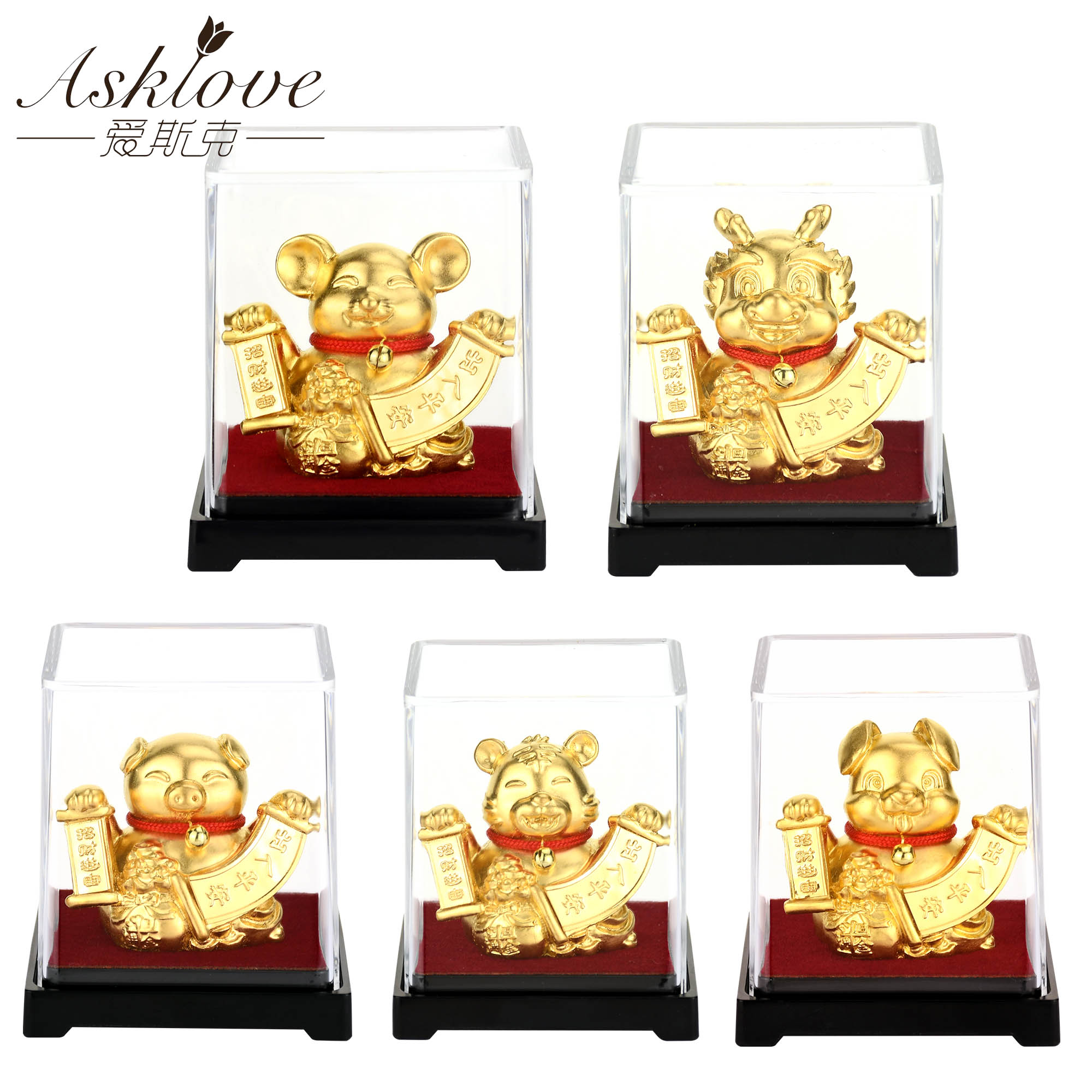 Chinese Zodiac Collect Wealth Ornaments 24k Gold Foil Fengshui decor Dragon/Rat/Pig/monkey Car Lucky crafts Home office decor