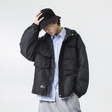 YUECHEN Autumn And Winter Mens New Loose Casual Pocket Monochrome Cotton-padded Clothes Modern Style Design Hooded Zipper