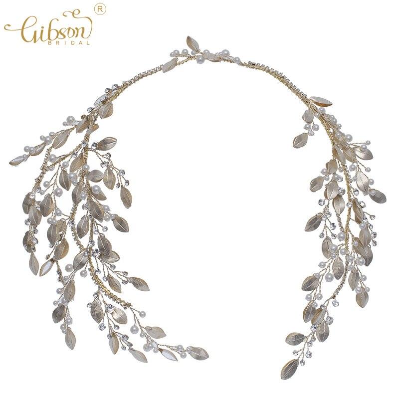 Bandeau de cheveux de mariage tiare feuille de cuivre perle Design accessoires de coiffure de mariée bandeau pince à cheveux casque pour robe