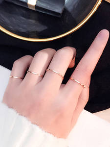 JHSL Fashion Jewelry Women Rings Stainless-Steel Rose-Gold-Color Black Silver Small Mini