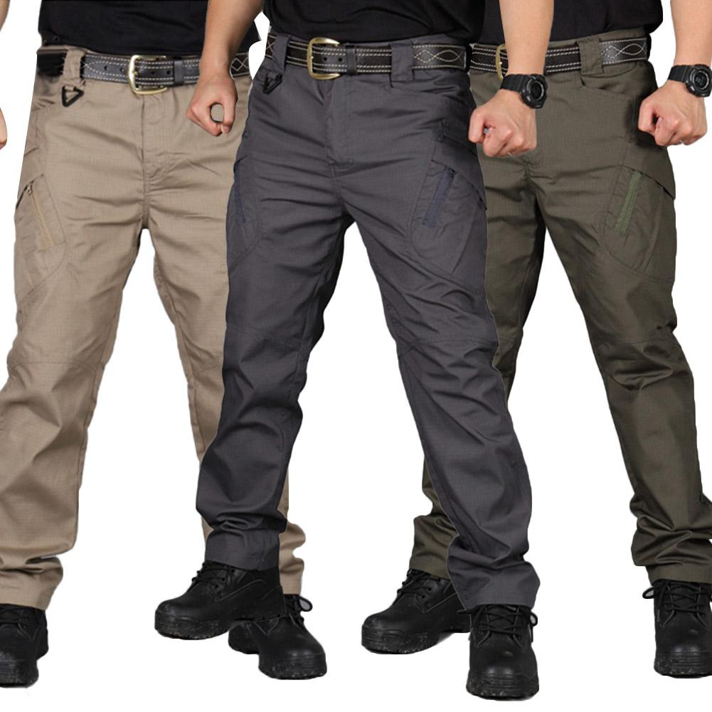 Men Solid Color Pockets Zip Outdoors Sports Tactical Cargo Pants Work Trousers