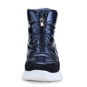 Image 3 - Botas de Invierno para mujer, calzado corto azul marino de lana 50% natural, producto de calidad con cremallera superior antideslizante y resistente al agua, Envío Gratis