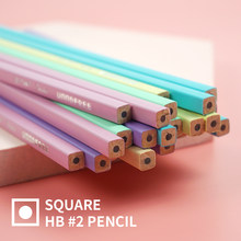 Square shaped Pastel Seriese Woodfree HB No.2 Pencil for school and office made of plastic Safe and Eco Friendly