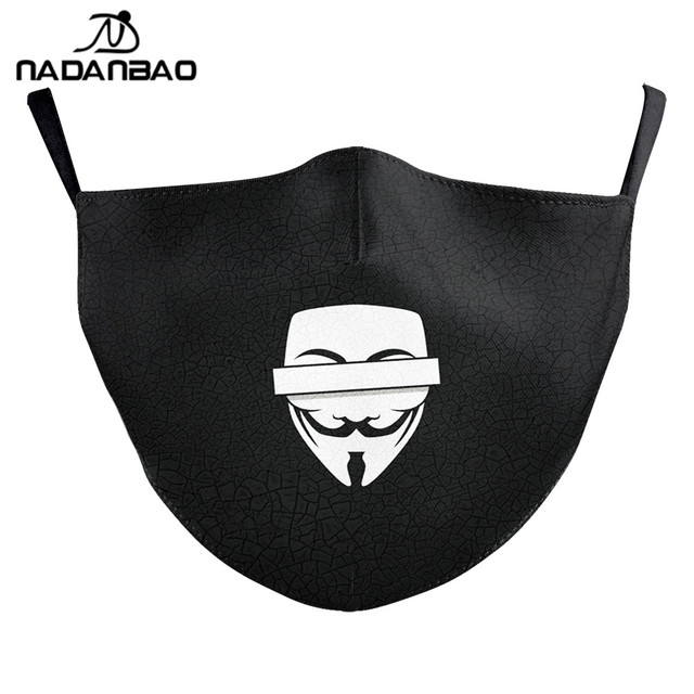 NADANBAO V For Vendetta Print Masks Adult Kids Face Fabric Mask Washable Reusable Mask Fashion Outdoor 5