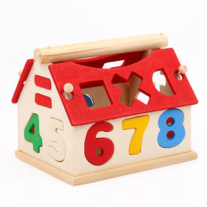 Educational-Toys Blocks Wood-House Building Baby Kids Children Developmental Intellectual
