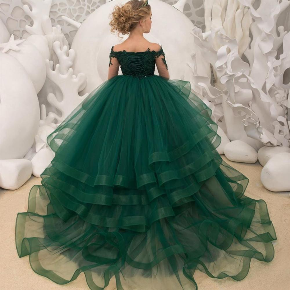 Applique Beading girl Birthday Flower Girls' Dresses Green Flower Girls Lace Long Sleeve Christmas Ball Gown