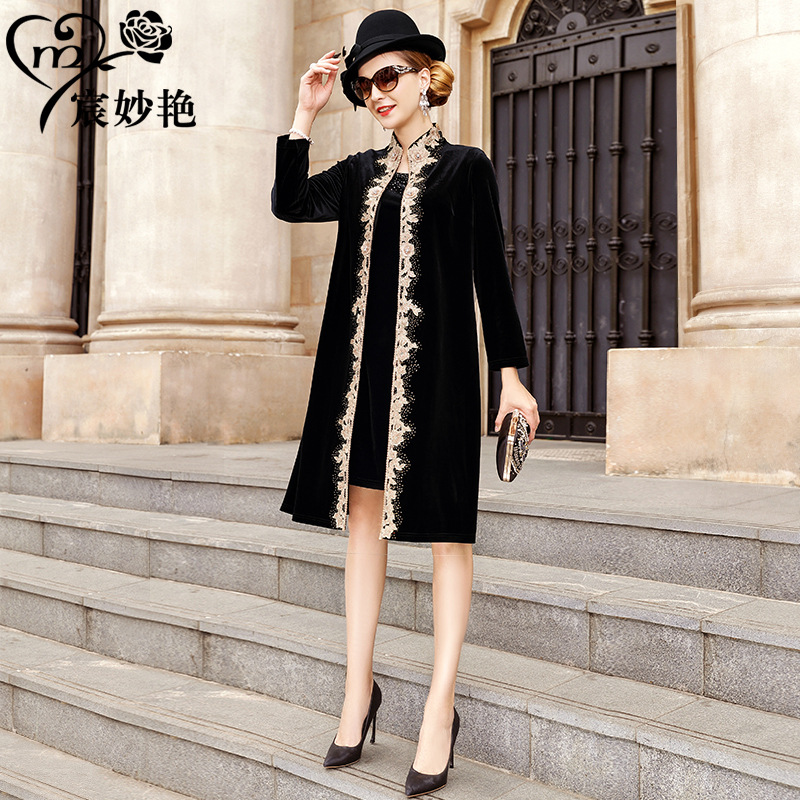 Autumn Clothing Women's 2019 New Style WOMEN'S Dress Velvet Dress Large Size Dress-Style Set Source Factory Goods