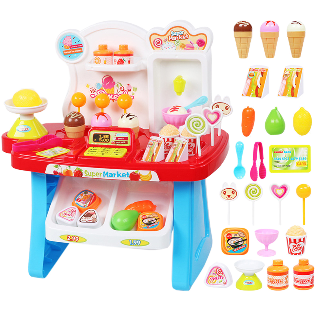 34Pcs/set Children Mini Superarket Playset Pretend Shopping Market Play Stand Groceries Toy With Light And Sound - Blue/Pink