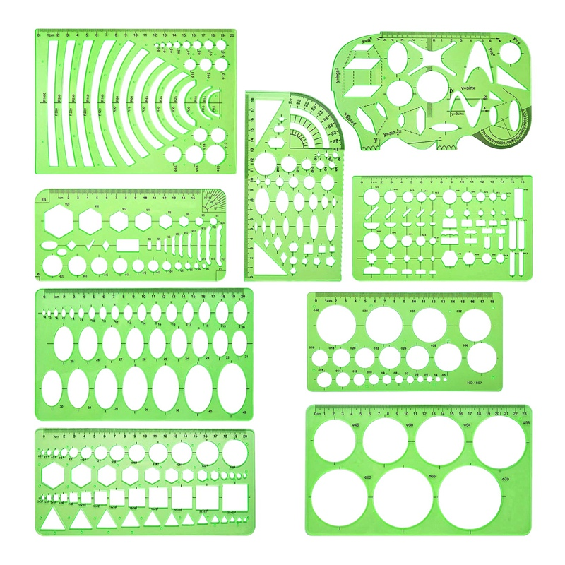 9 Pieces Drawings Templates Measuring Geometric Rulers Plastic Draft Rulers for School Office Supplies Clear Green
