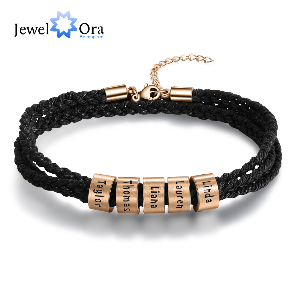 Personalized Rose Gold Color Stainless Steel Beads Engraved Bracelets For Men Custom 2-5 Family Names Braided Rope Bracelet Gift