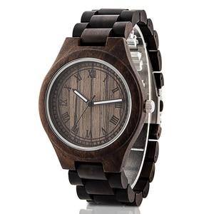 Image 3 - Montre en bois de marque Design rétro élégant bois montres japon citoyen mouvement hommes montres à Quartz cadeau pour hommes