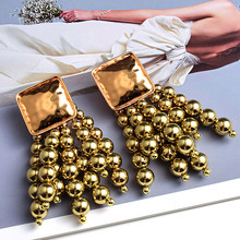 New Fashion Design Women's Accessories High-Quality Long Gold Metal Round Beads Chain Tassel Drop Earrings Jewelry Wholesale