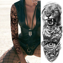 Big Black Tiger Temporary Tattoos For Men Women Body Art Full Arm Sleeve Flower Tatoo Water Trasnfer Fake Tattoo Stickers 3D(China)