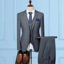 (Jackets+Vest+Pants) 2020 Fashion Men Slim Busines
