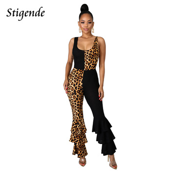 Stigende Women Leopard Print Patchwork Jumpsuit Cascading Ruffle Sexy Backless Jumpsuit Bodycon Sleeveless Flare Leg Jumpsuit фото