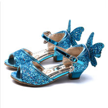Girls Sequins Single Shoes Summer Princess Sandals Kids Wedding Shoes High Heels Gold Pink Sliver Butterfly Dress Shoes(China)