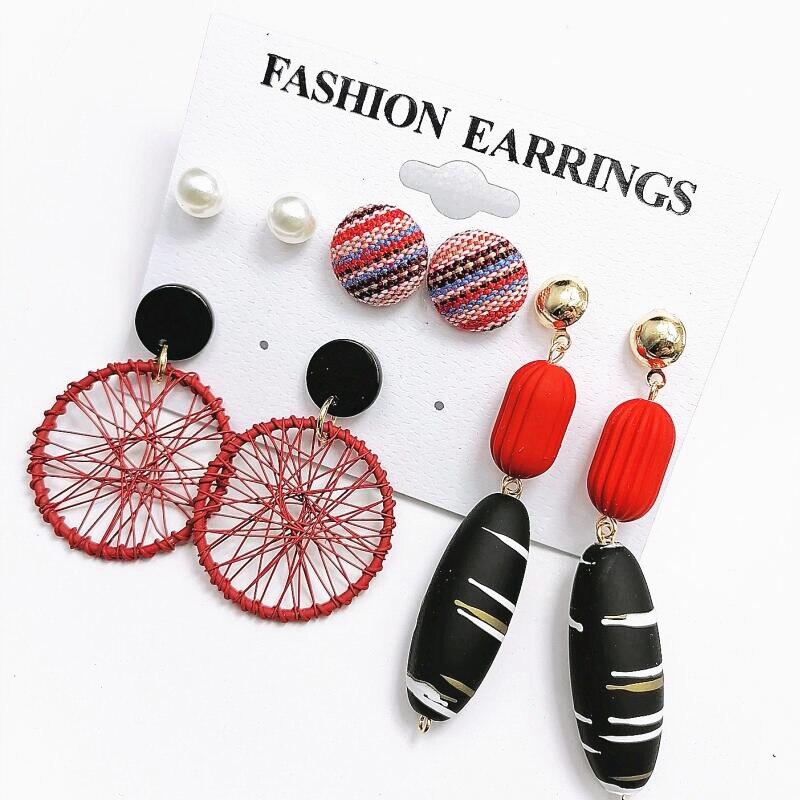 Bohemian Big Round Earrings Fashion Statement Jewelry Long Tassel Dangle Drop Earrings set Party Women Pearl Earrings For Women