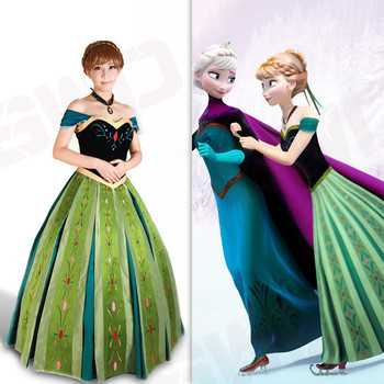 New Adult Princess Anna Costume Cosplay Snow Grow Anna Coronation Dress Ice Queen Anna Outfit Full Set Women Halloween Costume фото