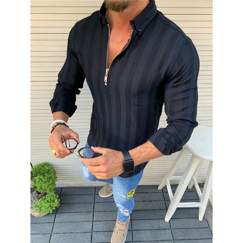 Men Casual Shirts 2020 Autumn New Fashion Solid Color Man Long Sleeve Striped Slim Fit Casual Business Zipper Shirt Tops
