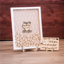 Personalize Sweet wood Wedding Bridal shower Guest Book, Baby shower Engagement birthday party Drop Top Wishing Box Guestbook(China)