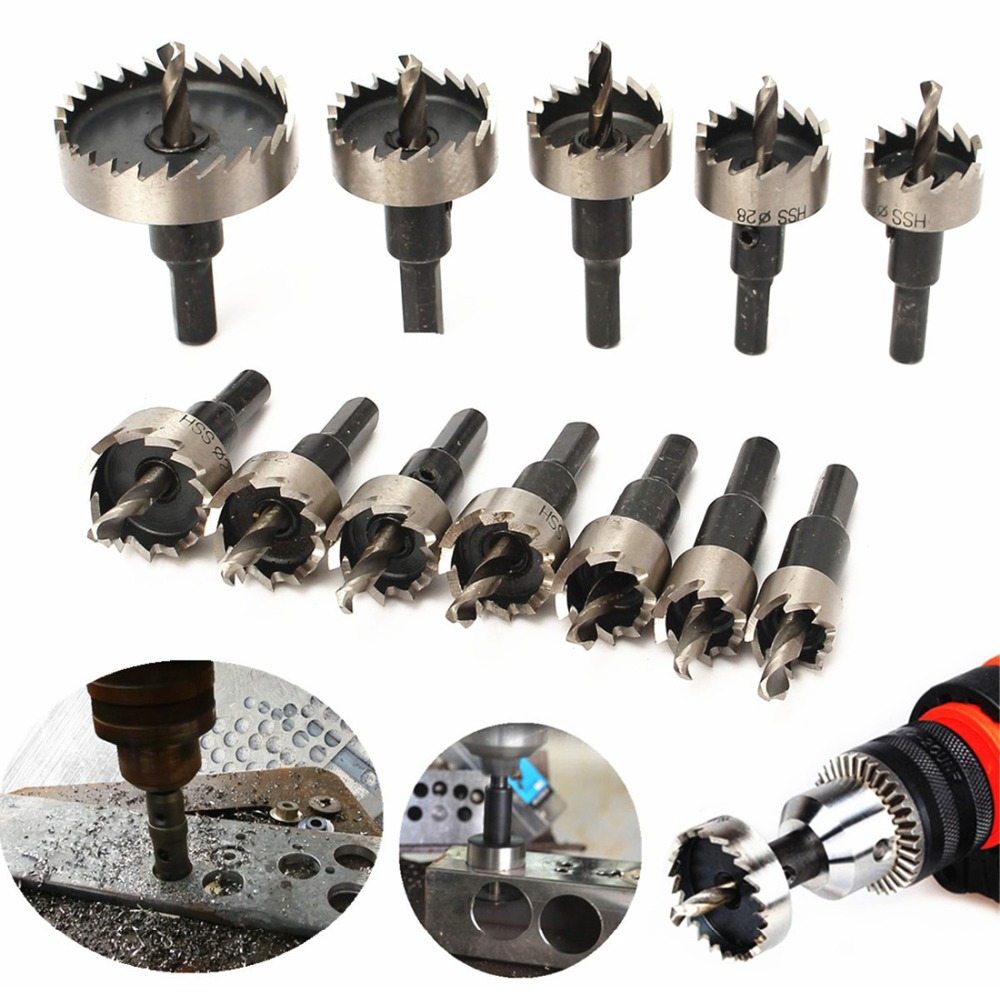 Hole Drill Bit 15-50mm High Speed Steel HSS Hole Saw Cutter HSS Drill Bits Set 12 Pcs/lot Different Size Hole Saw With Hex Key