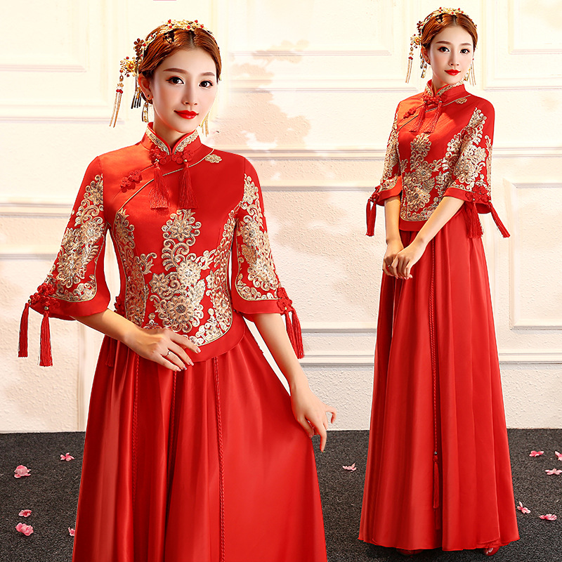 Cross Border Wedding Dress 2019 Summer New Style Chinese Traditional Wedding Dress Retro Large Size Marriage Bride Dress For Toa