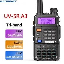 Baofeng walkie talkie de banda triangular, Radio de dos vías, UV 5R, A3, 220 260Mhz, 5 vatios, portátil, transceptor, UV 5R III