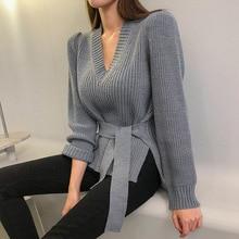 2019 зимний женский свитер, однотонный Повседневный пуловер со шнуровкой, базовый джемпер, Осенний вязаный свитер женский с v образным вырезом