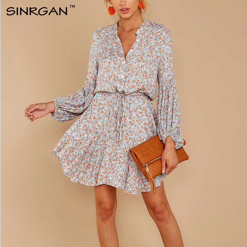 SINRGAN Floral Satin Long Sleeve Ladies Shirt  Loose Short Mini Dress Autumn Beach Dress Sashes Waist Steetwear