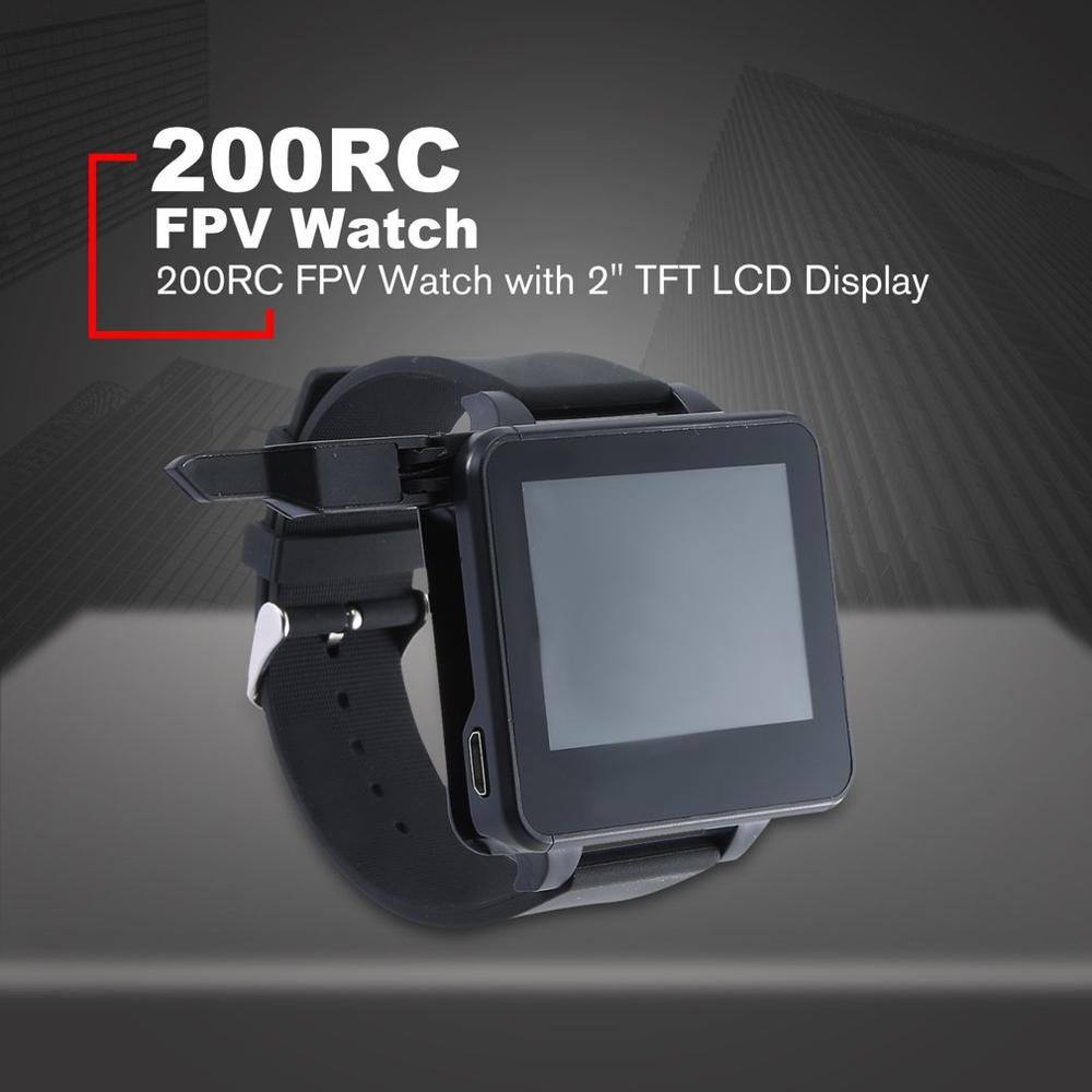 """200RC FPV Watch with OSD 48CH/5.8GHz Automatic search HD 2"""" TFT LCD Display Monitor Wireless Receiver for DIY RC Drone Camera"""