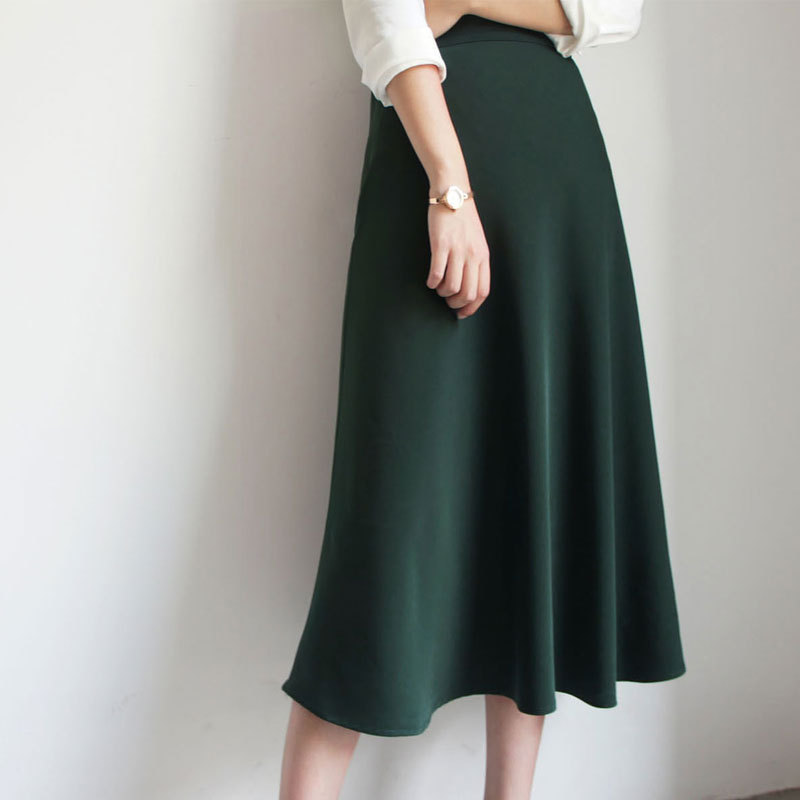Spring Autumn Women Satin Silk Skirt Elegant Solid Color High Waist Loose Women Office Lady Green Skirts Womens Long Skirt