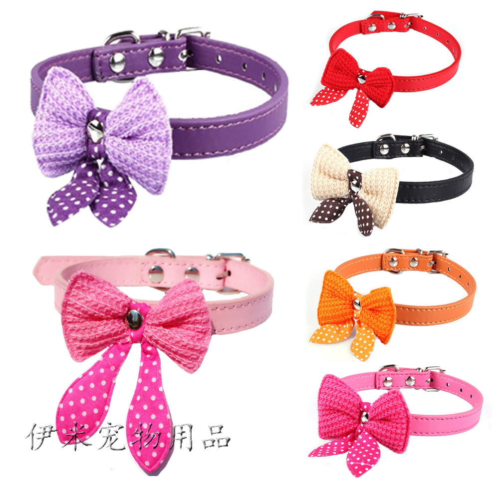 Pet Supplies Hot Selling Yarn Bow Neck Ring Cat Collar Dog Collar Pu Gou Neck Ring Small Dogs Cat Neck Ring