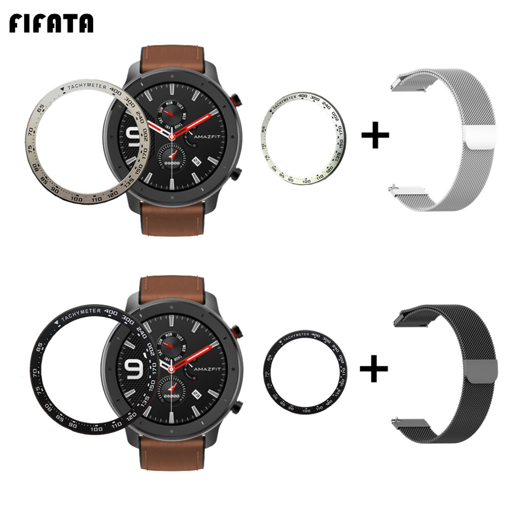 FIFATA Metal Ring Bezel Milanese Bracelet For Huami Amazfit GTR 47mm Watch Frame Protector 2in1 Wristband Strap+Case Outer Cover