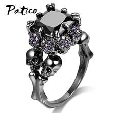 New Statement 925 Sterling Silver Skull Skeleton Cubic Zircon Ring Punk Women Engagement Royal Black Rhinestone Jewelry