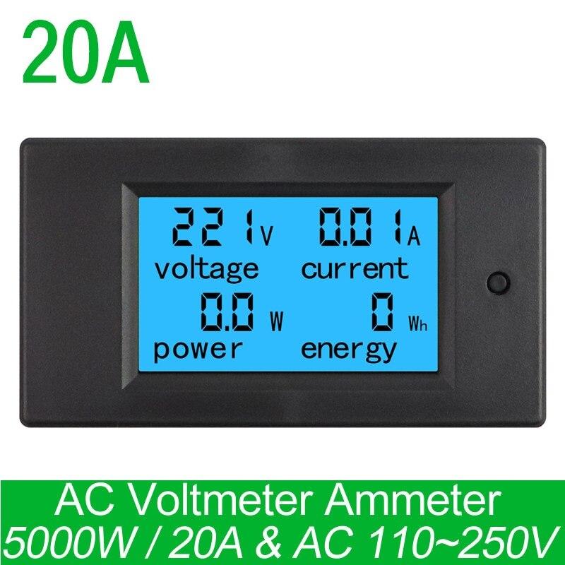 Negro CA 80V-260V 20A 4 en 1 Pantalla LCD digital Medidor de volt/ímetro de corriente digital Amper/ímetro Energ/ía Energ/ía Mult/ímetro Panel Probador Medidor