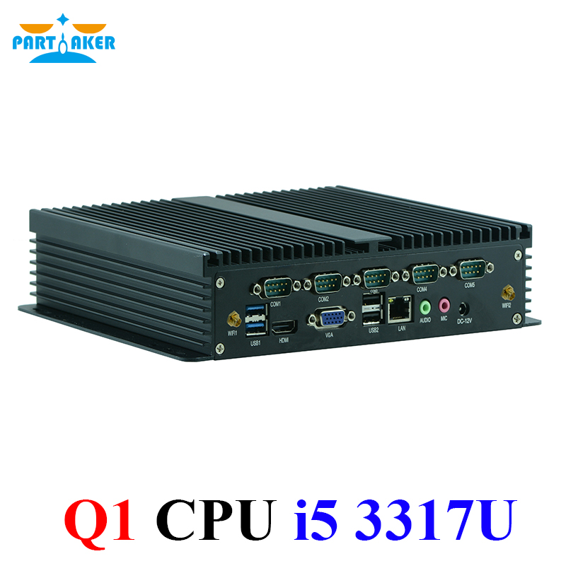 Fanless Mini PC Windows 7/8/10 Core I5 3317U 6*RS232 COM Industrial PC Rugged Computer Wifi HDMI+VGA