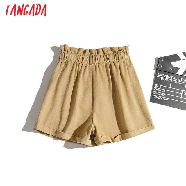 Tangada Women Cotton Shorts High Waist Buttons Pockets Female Retro Basic Casual Shorts Pantalones 1M2 6