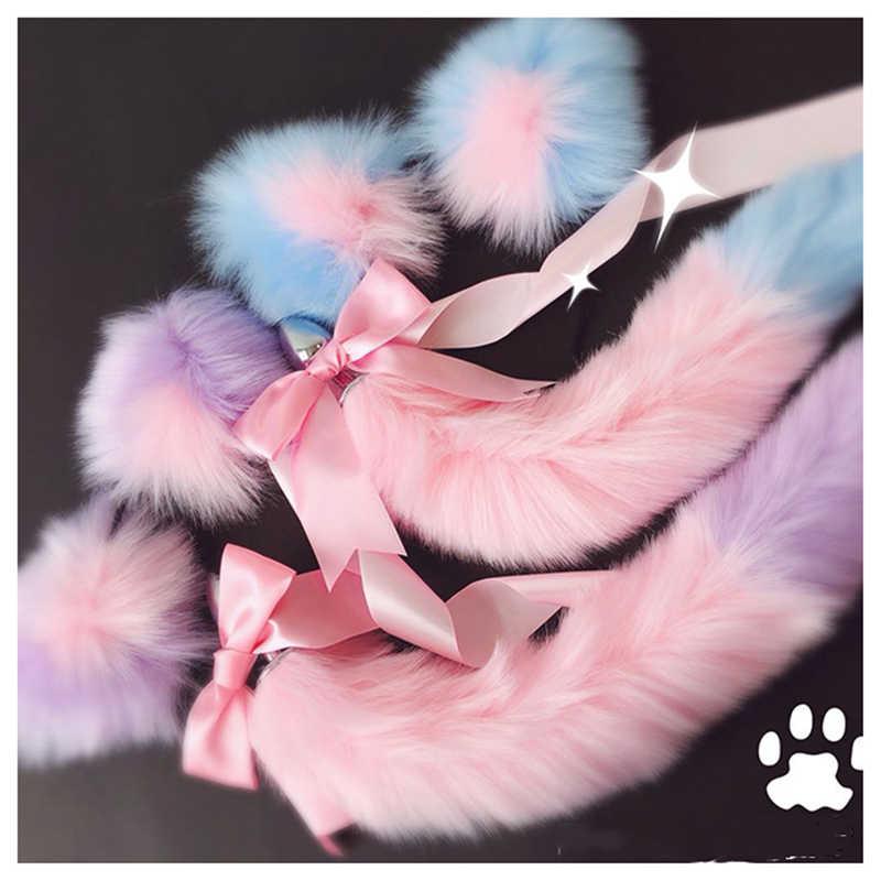 Lindas orejas de gato suaves diademas con arco de cola de zorro Metal Butt Anal Plug erótico Cosplay accesorios juguetes sexuales adultos para parejas