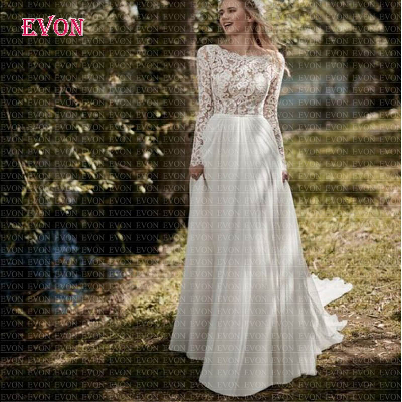 Boho Chiffon A Line Wedding Dresses 2020 Fashion Scoop Long Sleeves Backless Lace Wedding Gowns Cheap Vestido De Noiva Beach