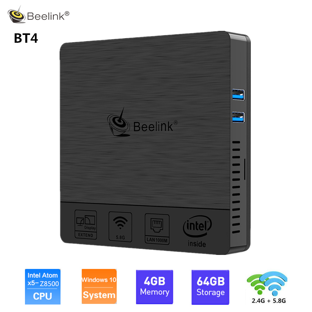 Nouveauté Beelink BT4 Mini PC Intel Atom X5-Z8500 Windows 10 4GB LPDDR3 64GB 2.4G/5.8G WIFI BT4.0 4K double écran VGA + HDMI