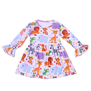 Robes de printemps pour filles | Motif Floral, ours Lion girafe, mignonne, longues manches, Costume pour petites filles, nouvelle collection