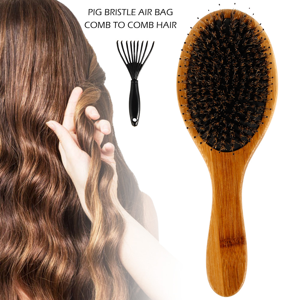 Hair brush Boar Bristle Hair Brush Best Natural Wooden Paddle Hairbrush for Thick Curly Wavy Dry and Damaged Hair Massage Brush