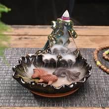 Peixe backflow queimador de incenso meditação presentes casa chá escritório decoração fumaça cachoeira incenso titular zen budista ornamentos