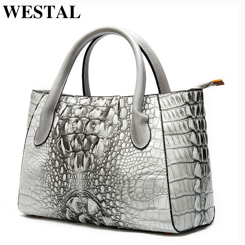 WESTAL Womens Genuine Leather Handbags Luxury Handbags Women Bags Designer Alligator Top-handle Bags Messenger Bag Women Leather