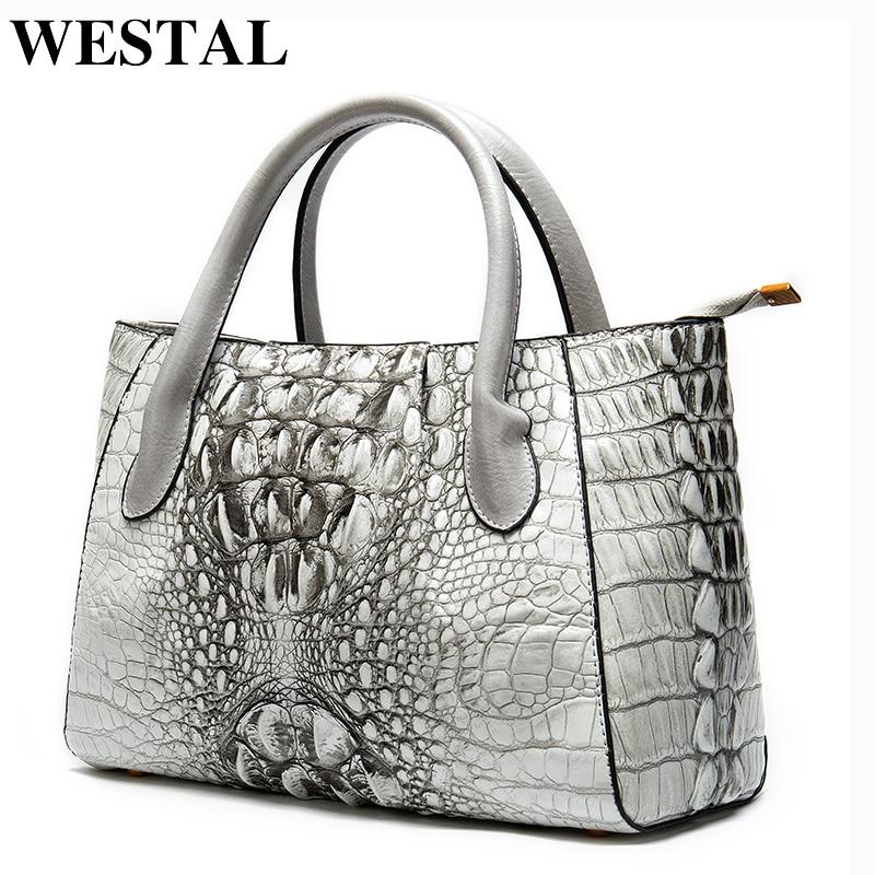 WESTAL Womens Genuine Leather Handbags Luxury Handbags Women Bags Designer Alligator Top-handle Bags Messenger Bag Women Leather
