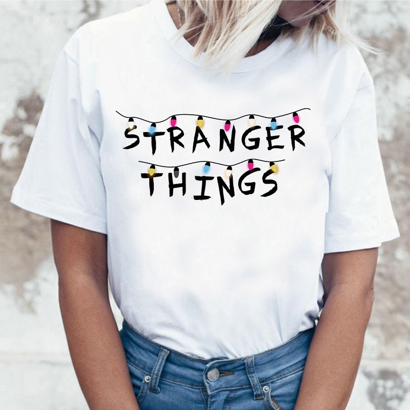 Harajuku Stranger Things T Shirt Women Casual Shirts Tshirt Top Tee Eleven T-shirt Female Femme Clothing Funny Movie Shirt 2019
