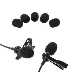 Microfone 5 pçs bola redonda lavalier microfone espuma windshields esponja 6mm abertura