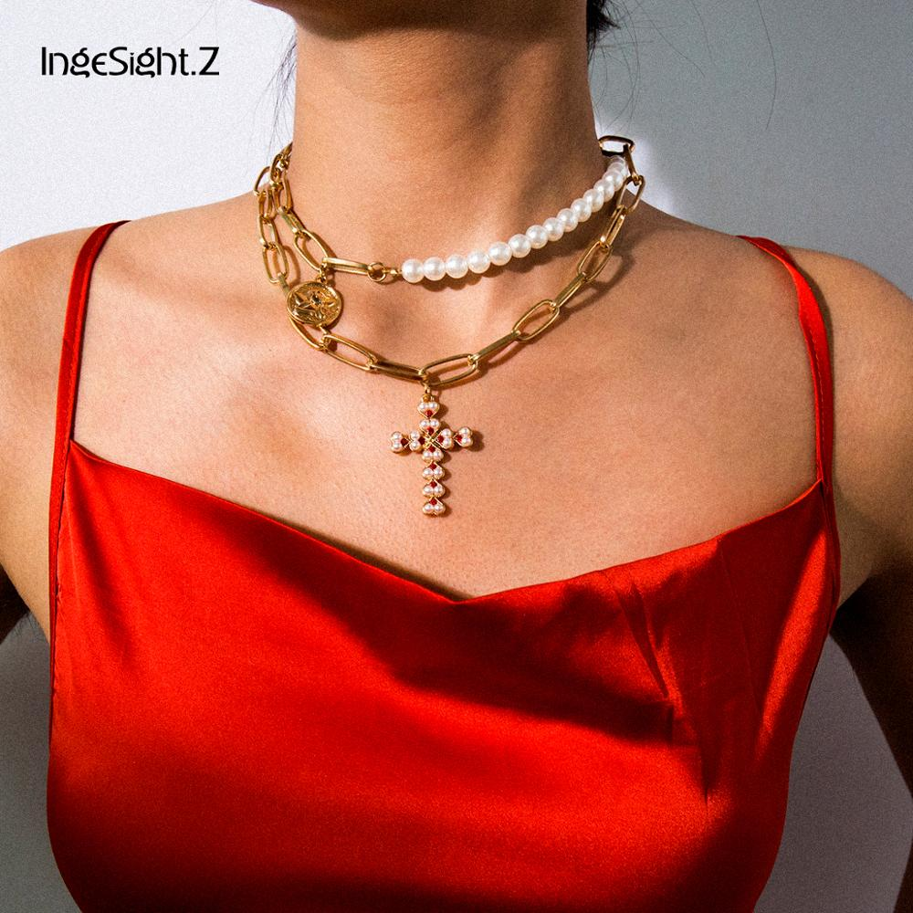 IngeSight.Z Punk Multi Layered Pearl Choker Necklace Collar Statement Virgin Mary Coin Crystal Pendant Necklace Women Jewelry 1