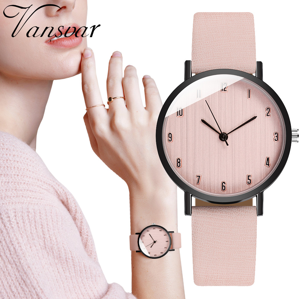 Vansvar Women's Casual Quartz Leather Band Newv Strap Watch Analog Wrist Watchwrist Women Watch Clock Wristwatch